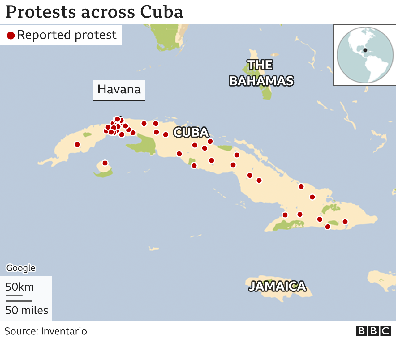 Map of Cuba protests