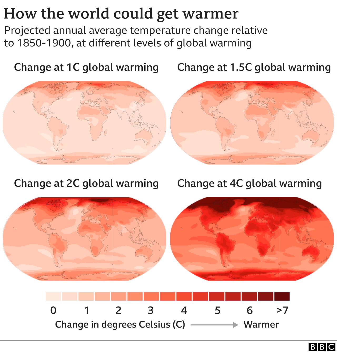 Four maps showing how world could get warmer