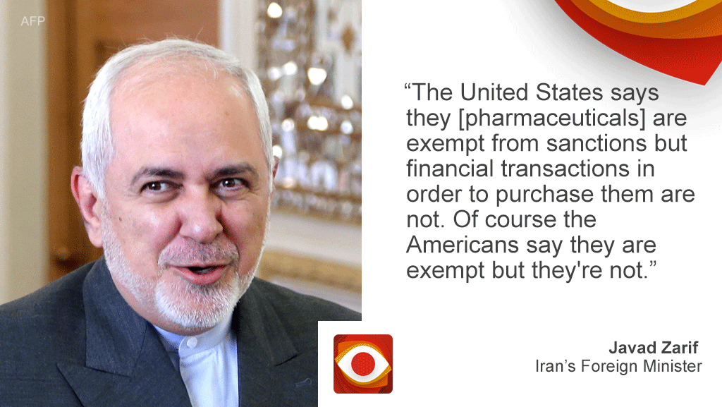 """Iran's foreign minister Javad Zarif and a quote that reads: """"The United States says they are exempt from sanctions but financial transactions in order to purchase them are not. Of course the Americans say they are exempt but they're not exempt."""""""