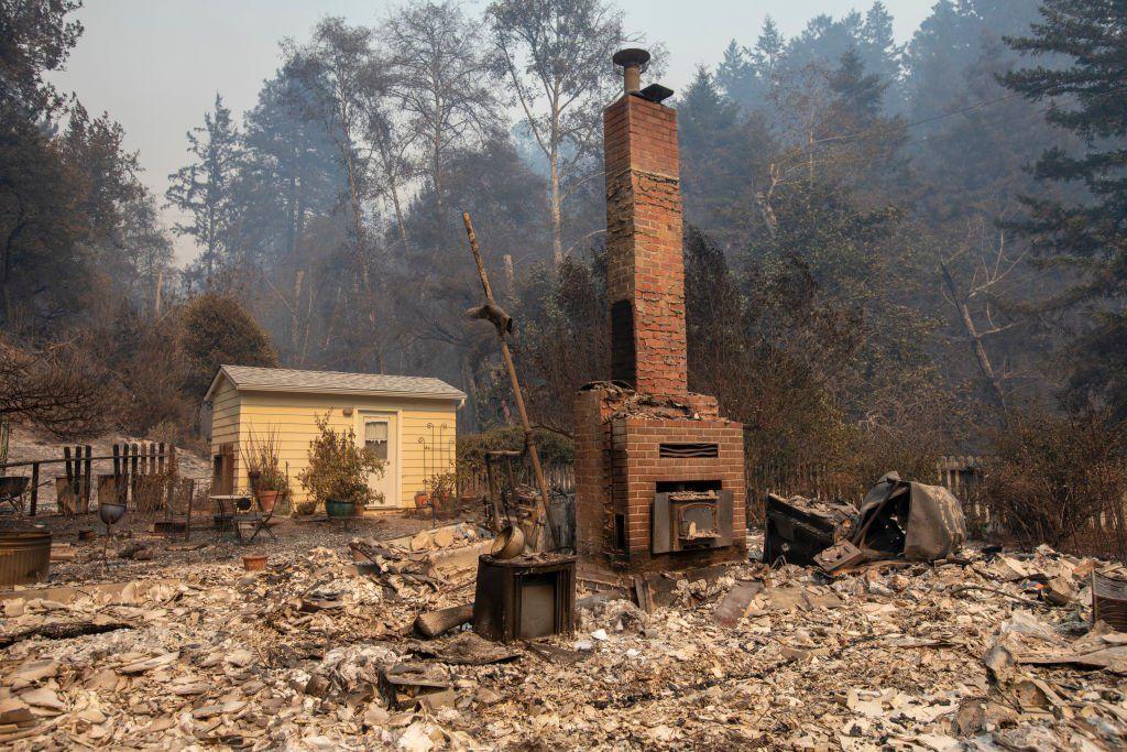 The CZU Lightning Complex fire destroyed homes in Davenport, California
