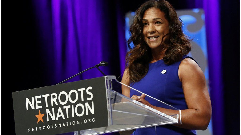 Aimee Allison, president of Democracy in Color,speaks at the Netroots Network event