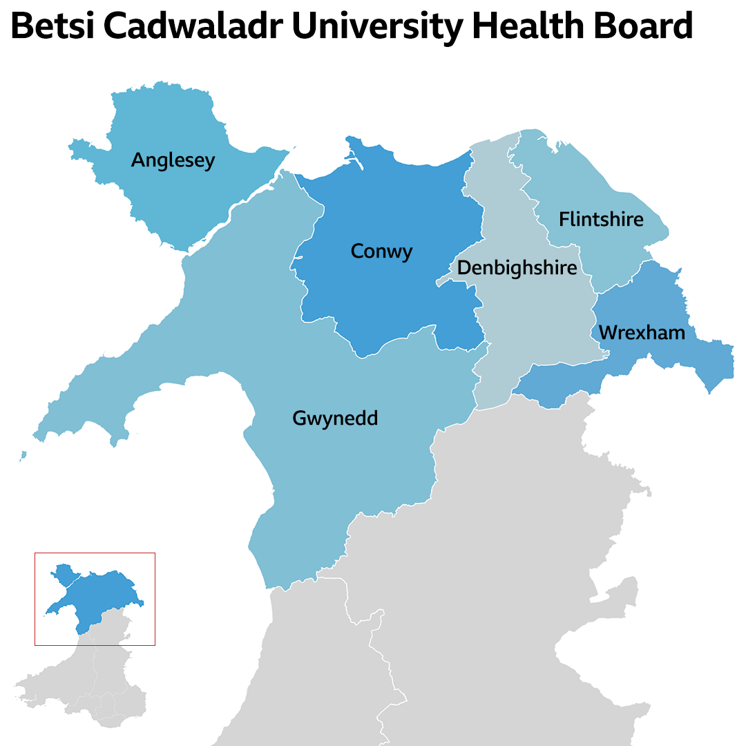 Map graphic showing the north Wales area covered by the Betsi Cadwaladr University Health Board