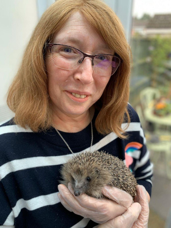 Sue Bonnington and hedgehog