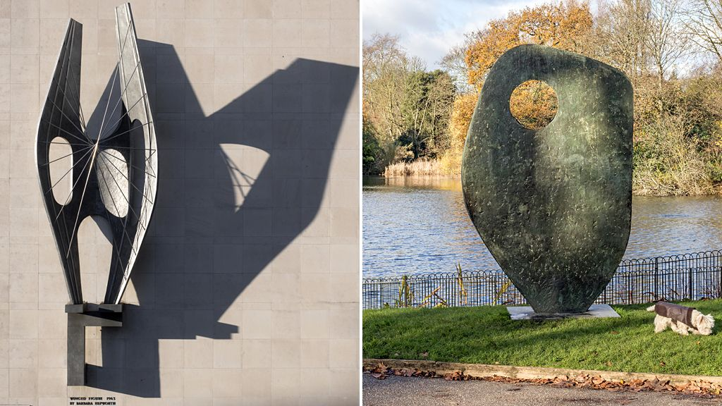 Winged Figure by Barbara Hepworth, 1963 - Oxford Street, London. Single Form (Memorial) by Barbara Hepworth, 1961-62 - Battersea Park, London.