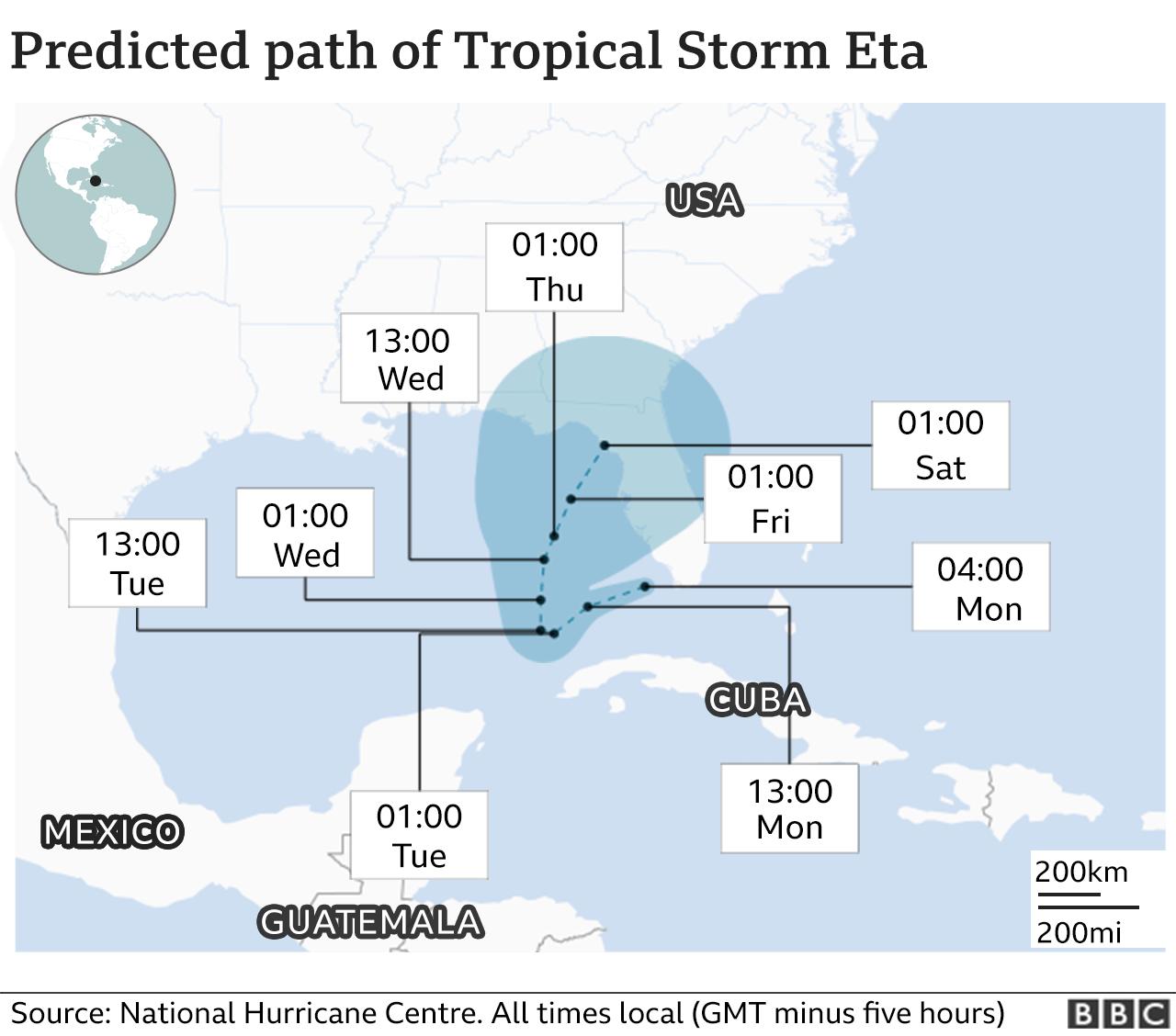 Map of Storm Eta's path