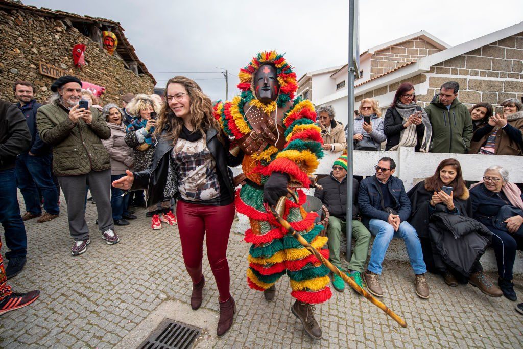 Revellers in Podence, Portugal