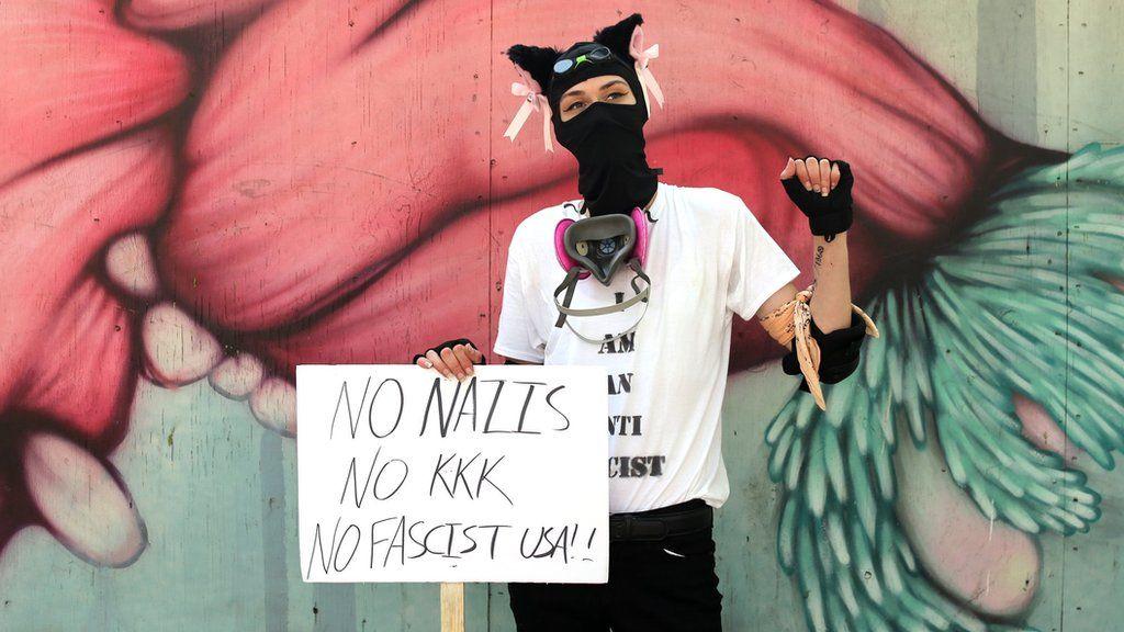 An antifa activist