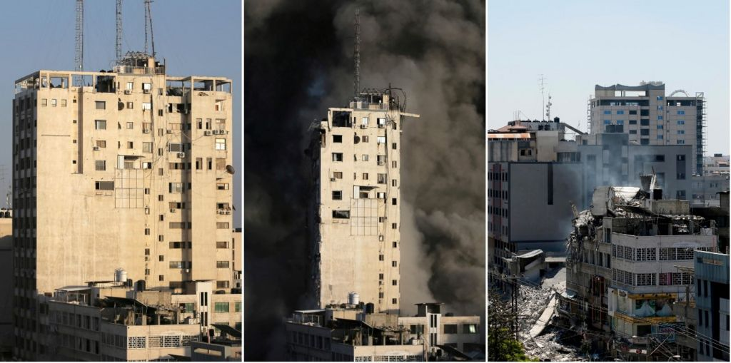 A combination picture shows a tower building in Gaza City on May 12, 2021 (L and C) and after it was destroyed by Israeli air strikes amid a flare-up of Israeli-Palestinian violence, May 13, 2021