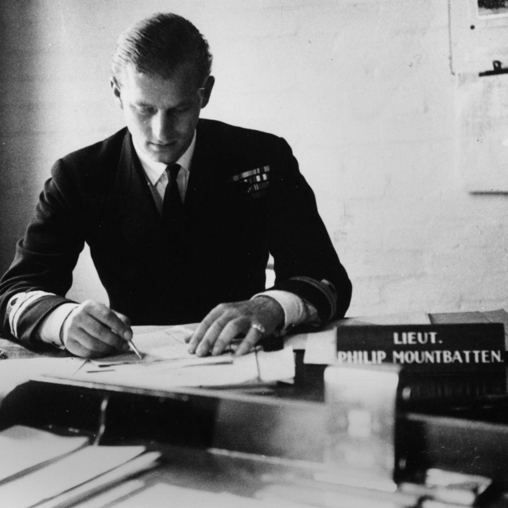 Lieutenant Philip Mountbatten working at Royal Navy offices in Corsham, Wiltshire, 1947