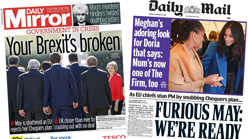 Newspaper headlines: 'Your Brexit's broken' and 'May