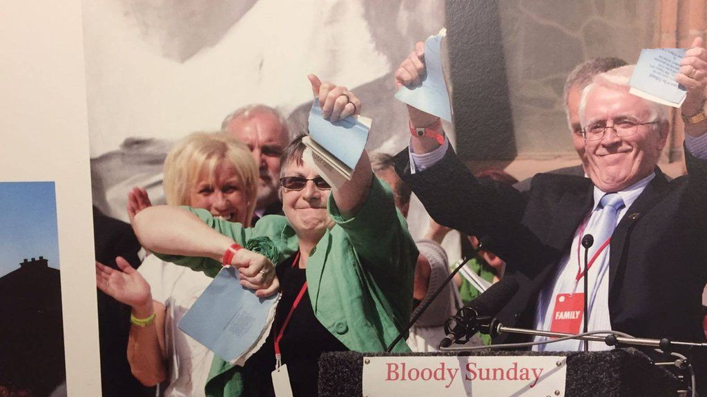 This picture captures the moment the families of Bloody Sunday received an apology from Prime Minister David Cameron
