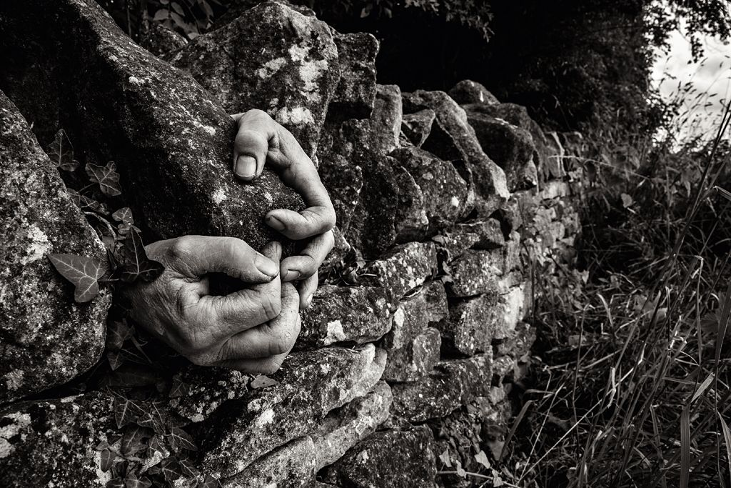 Hands of dry stone waller Jo Webb
