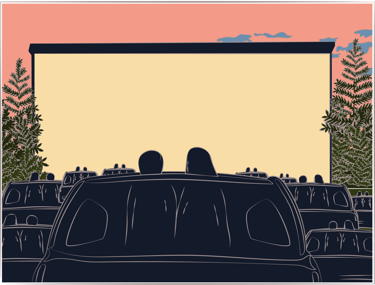 Illustration of a drive-in cinema