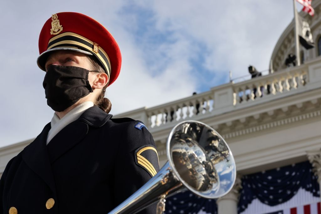 A member of the US Army Band Pershing's Own