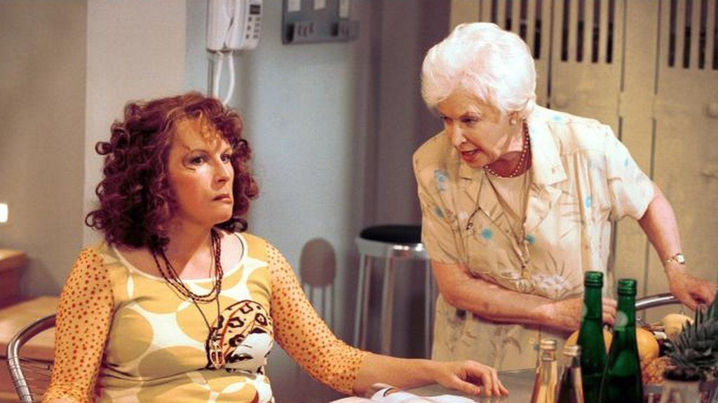 June Whitfield on the set of Absolutely Fabulous