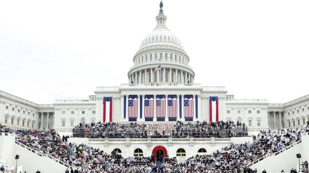 The Capitol building decked out in flags for Trump's inauguration