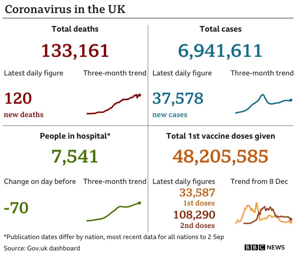 Daily coronavirus figures in the UK on Saturday