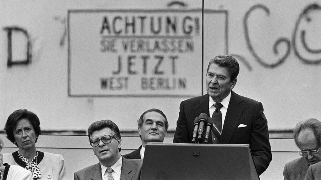 Ronald Reagan, making his famous challenge to Mikhail Gorbachev to tear down the Berlin Wall, 1987