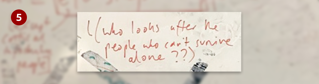 Whiteboard excerpt - who looks after people who can't survive alone?