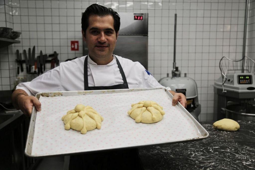 Irving Quiroz with Pan de Muerto dough