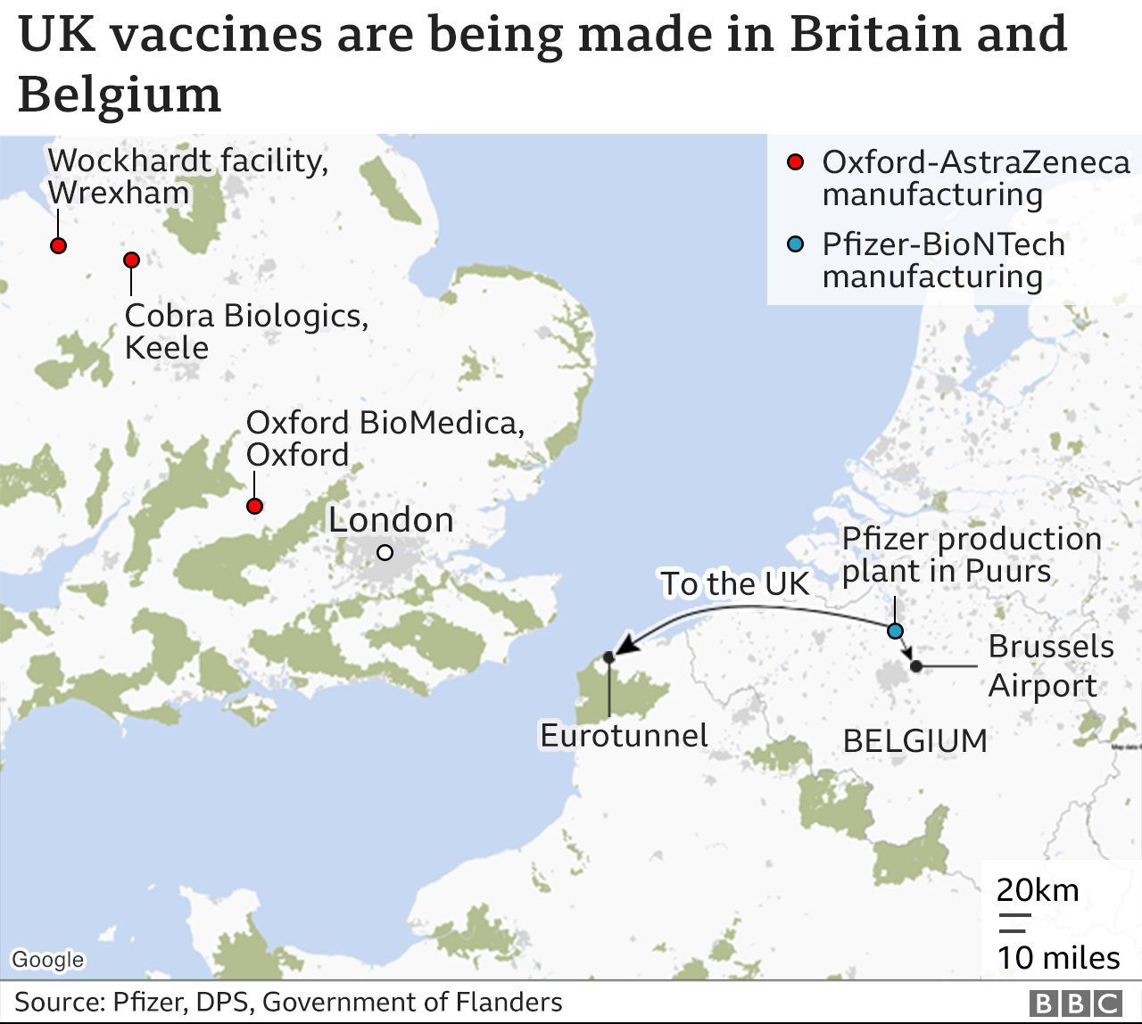 Map showing where the vaccines are made: Oxford in the UK and Pfizer in Belgium