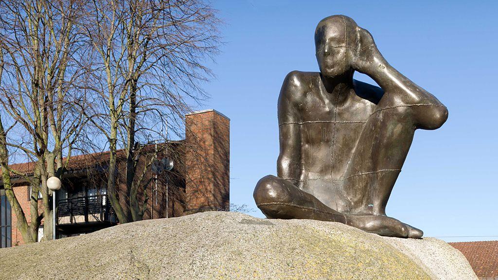 Untitled [Listening] by Anthony Gormley, 1983-4 - Maygrove Peace Park, London.