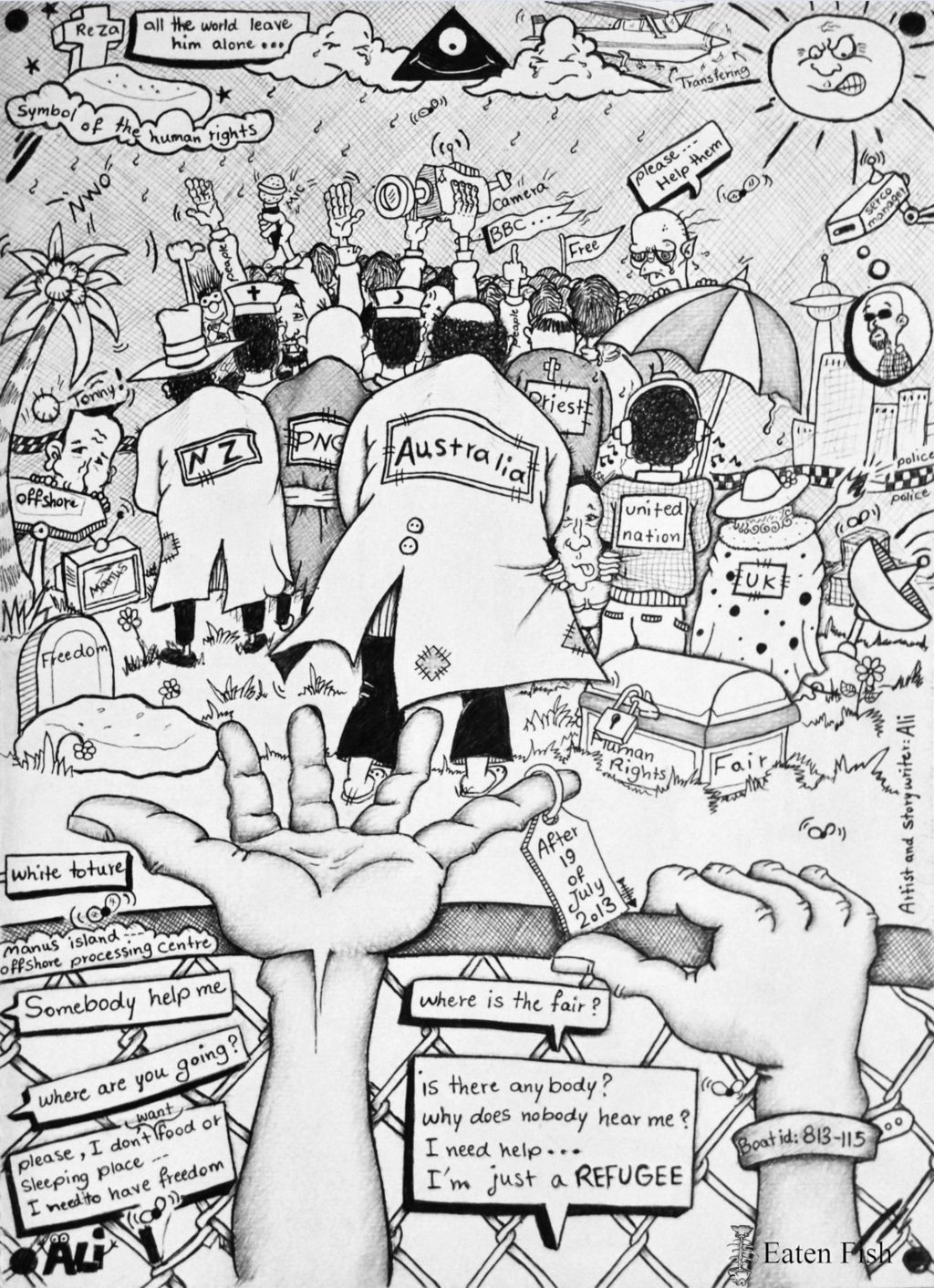 Ali Dorani's drawing, showing several countries turning their backs on refugees on Manus Island