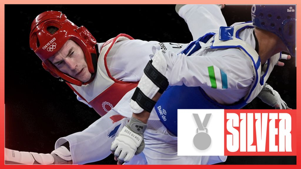 Tokyo Olympics: Bradly Sinden wins taekwondo silver for GB after narrow defeat in final