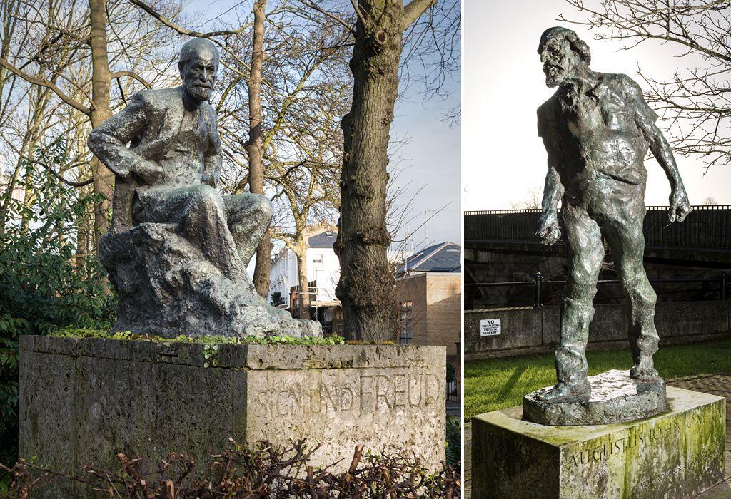 Sigmund Freud Statue by Oscar Nemon, 1970 - Hampstead, London. Statue of Artist Augustus John by Ivor Robert-Jones, 1964-67 - Fordingbridge, Hampshire
