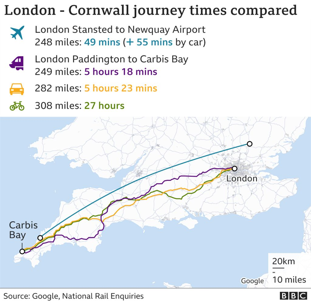 Map showing the fastest routes from London to Cornwall