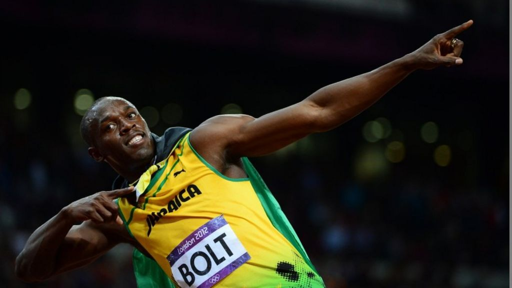 7d34079606c Jamaica s Usain Bolt celebrating after winning the men s 100m final at the  athletics event during the