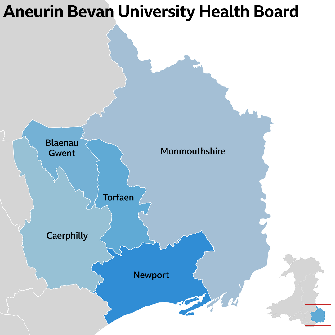 Aneurin Bevan University Health Board map