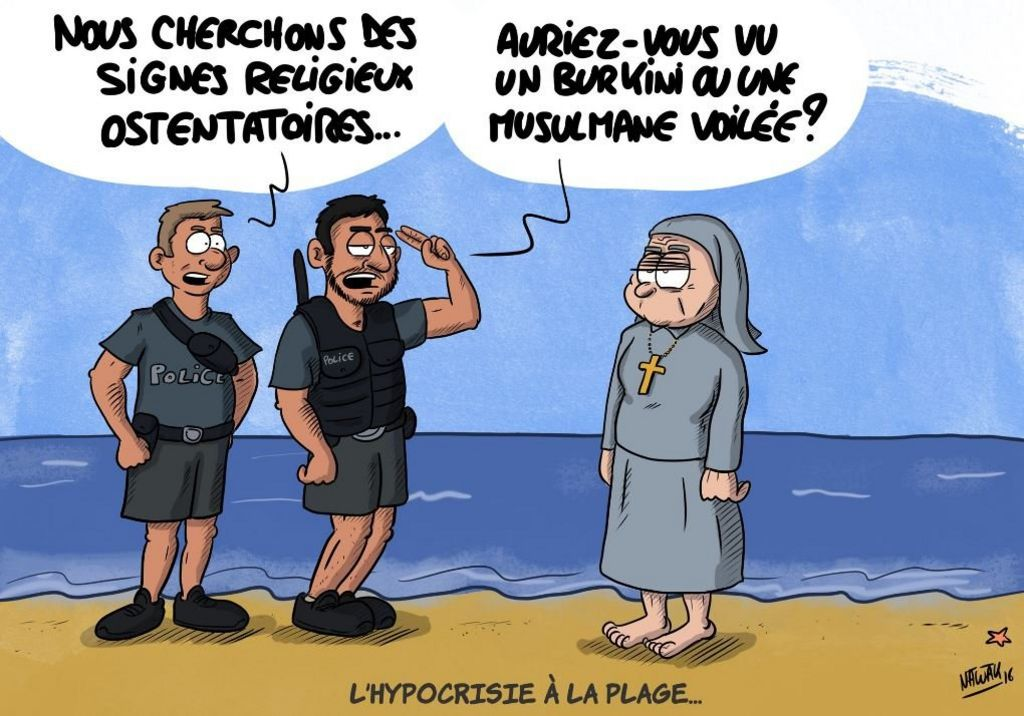 Cartoon showing police and a nun on the beach