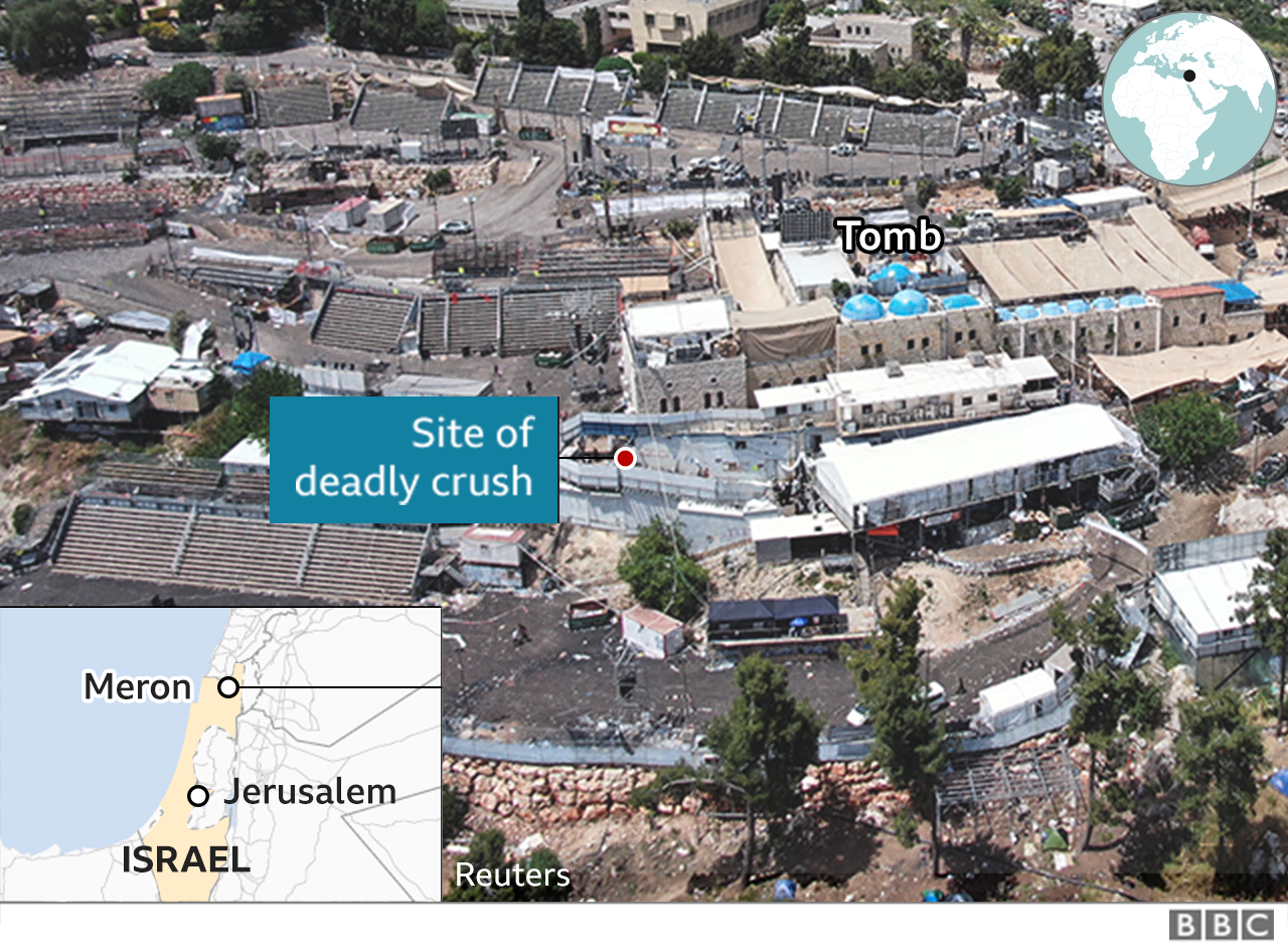 Aerial view of the site of the Lag B'Omer festival near Mount Meron in Israel