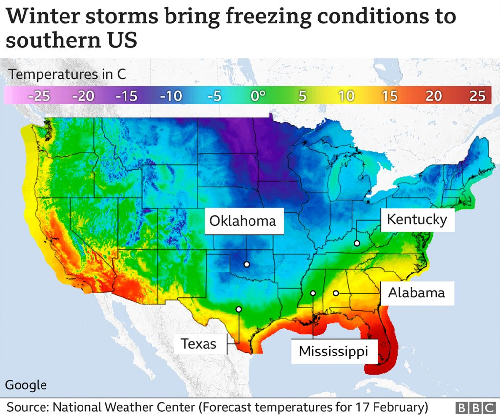 Image shows winter storms bringing freezing conditions to southern US