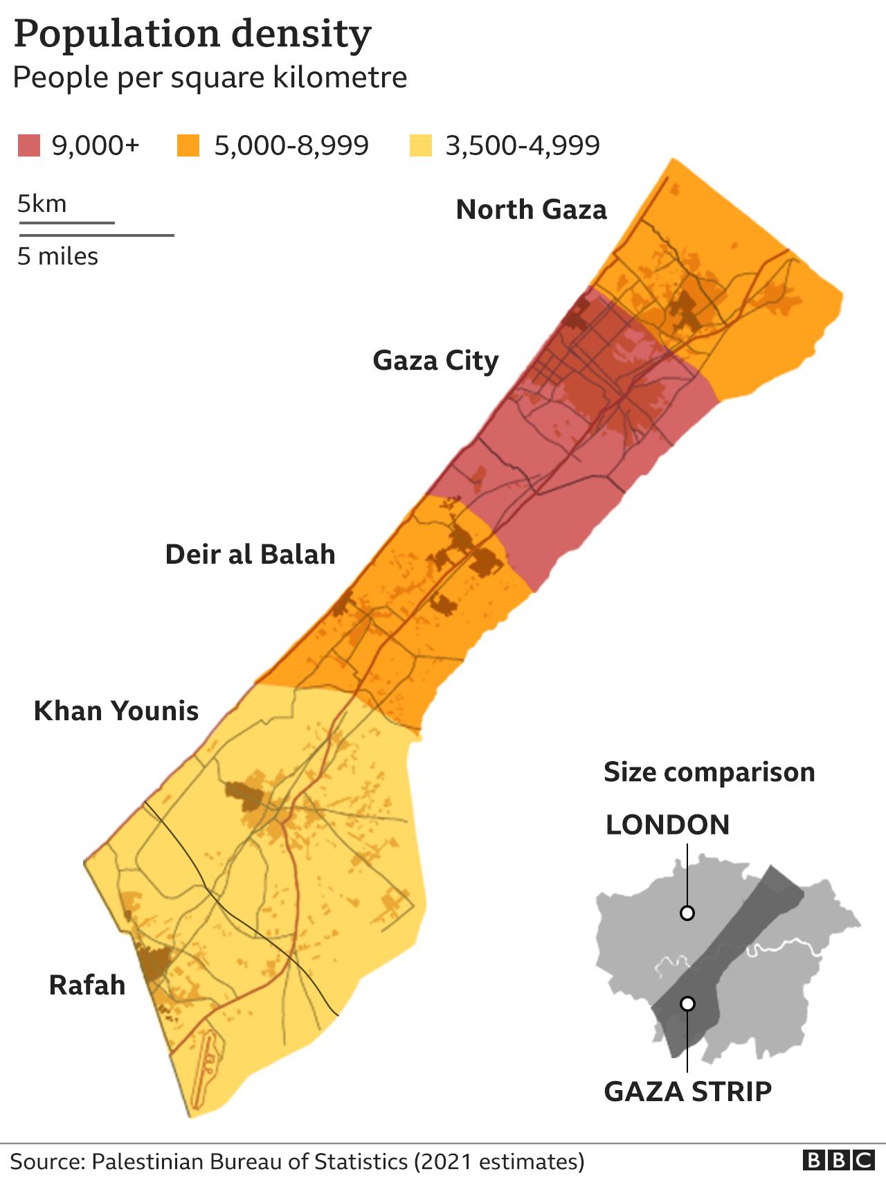 Population density map of Gaza