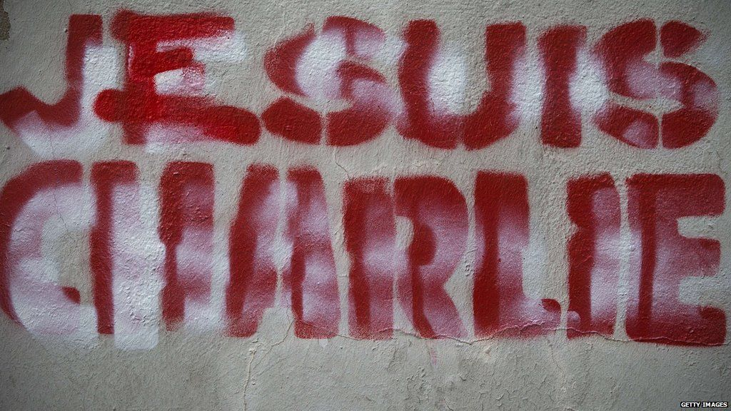 This picture taken on 27 January 2015 shows 'Je suis Charlie' graffiti on a wall in Paris