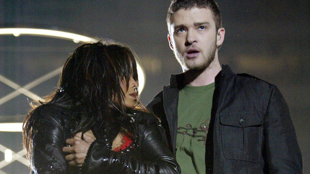 Janet Jackson and Justin Timberlake at the Super Bowl half-time show