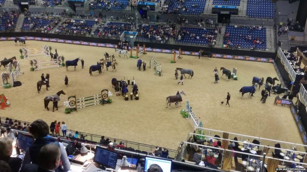 Liverpool Echo Arena car park fire disrupts horse show