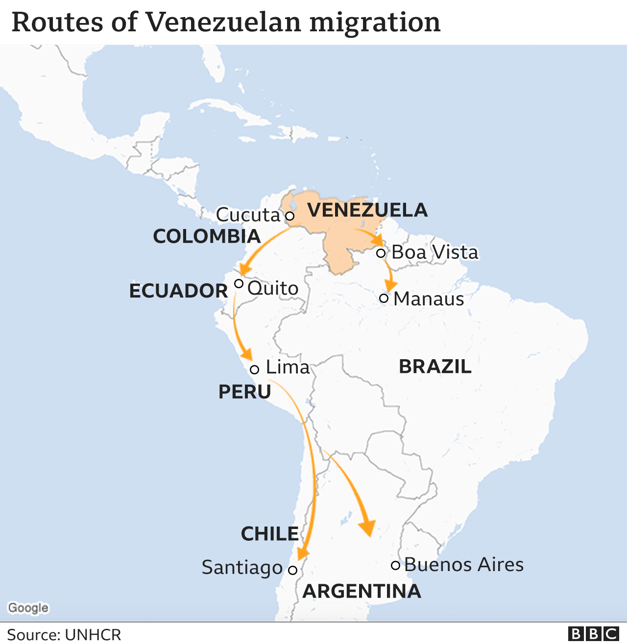 Map showing the routes of Venezuelan migration