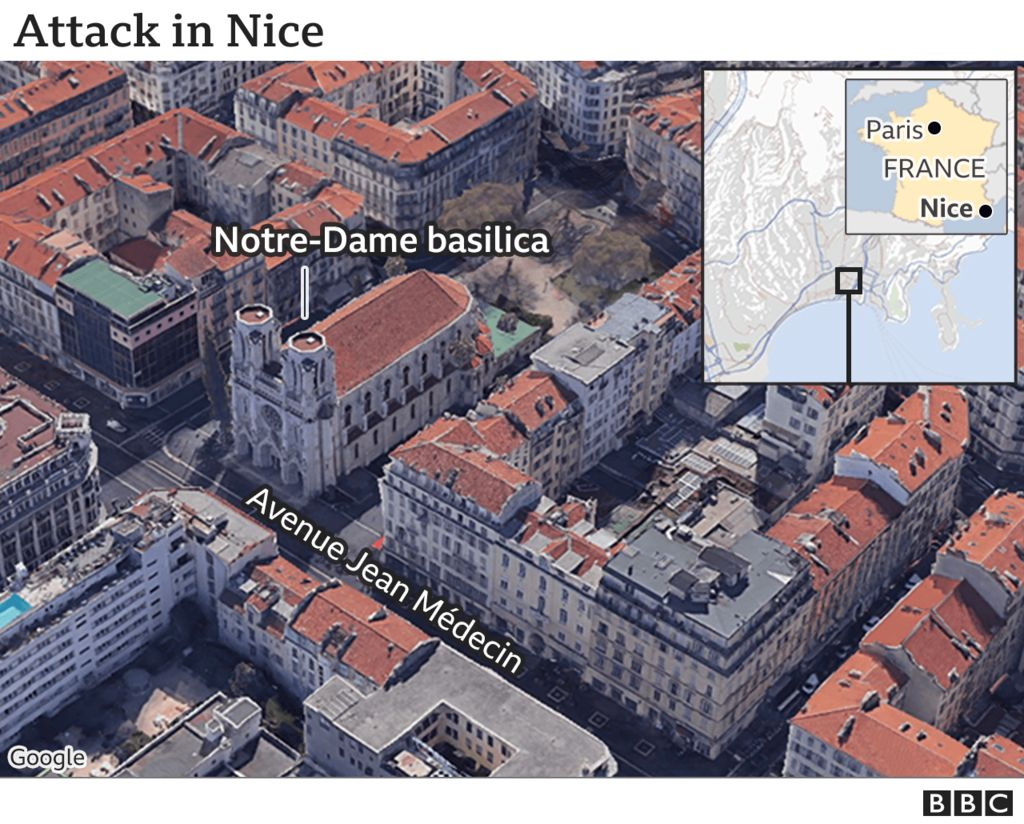 Map showing the location of the attack in Nice