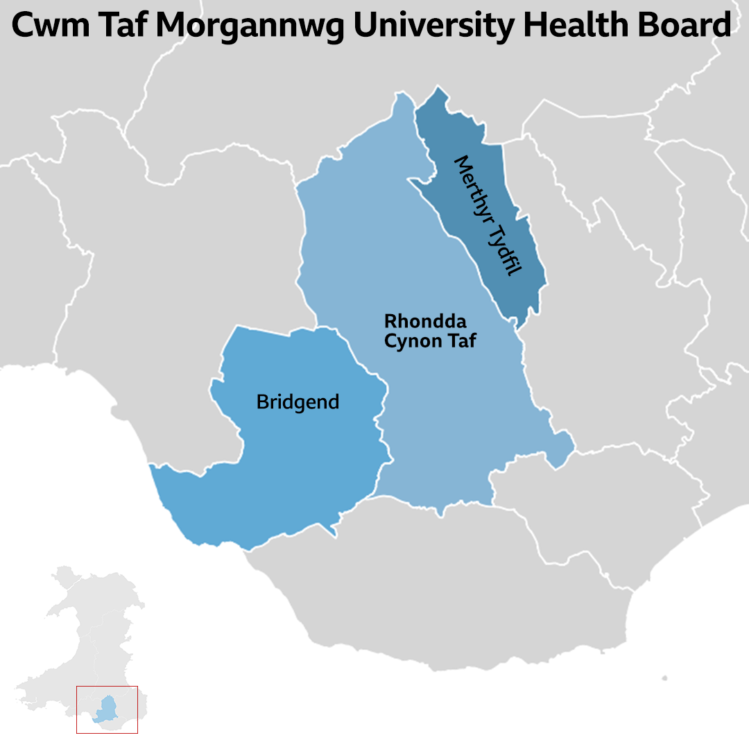 Cwm Taf Morgannwg University Health Board area map