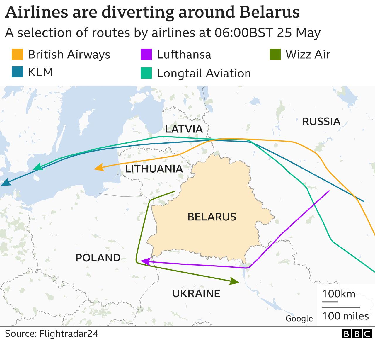 Map showing flight paths around Belarus