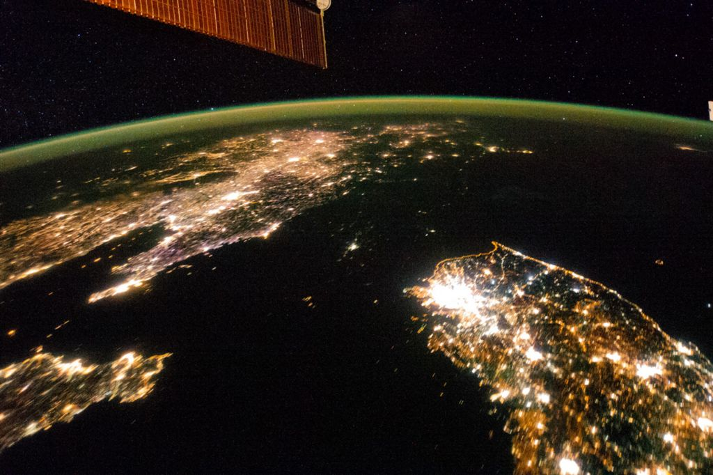 The Korean peninsula seen from the International Space Station in 2014 - Pyongyang is a speck of light in the darkness of North Korea