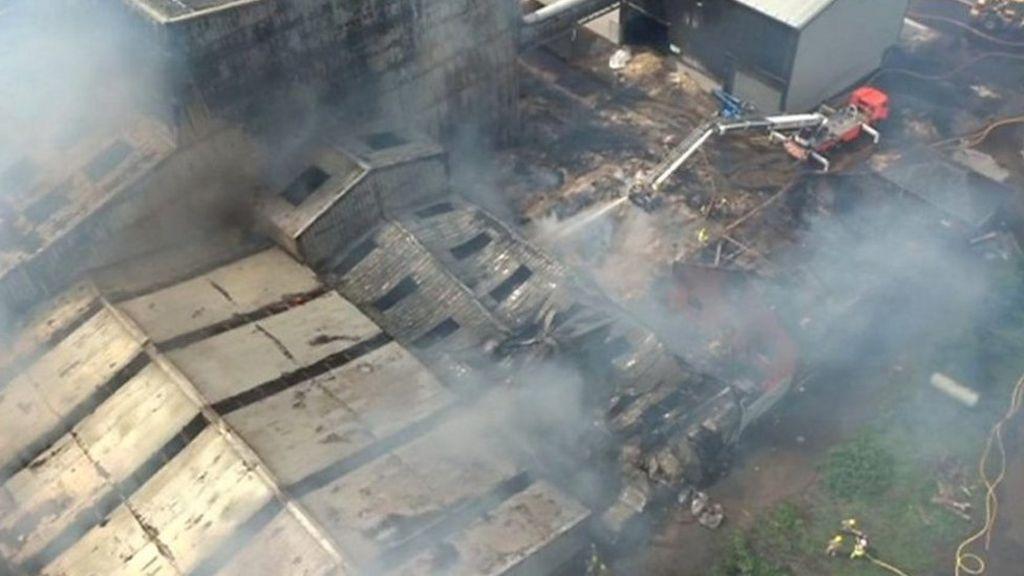 Fire crews tackle large blaze at lancashire sawdust mill