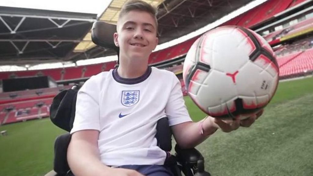 Social media abuse: Goalkeeper Rhys, 13, trains with England cerebral palsy team after charity work