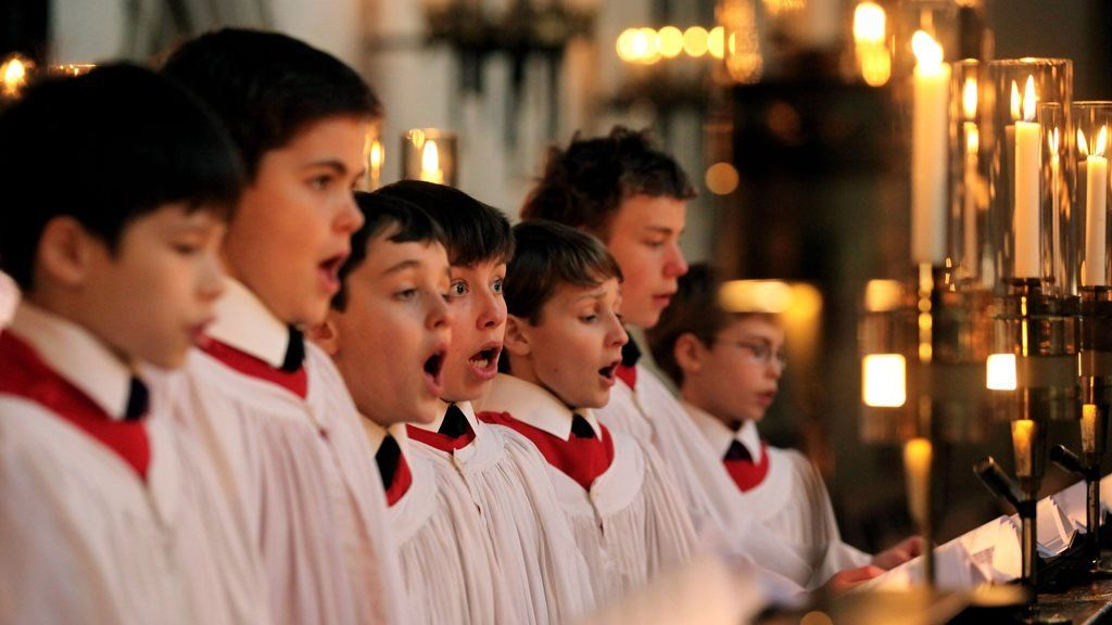 Choristers at King's College, Cambridge, rehearse their Christmas service