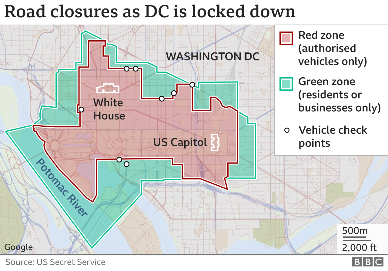Map showing the vehicle restrictions in place in the temporary red and green zones in Washington DC