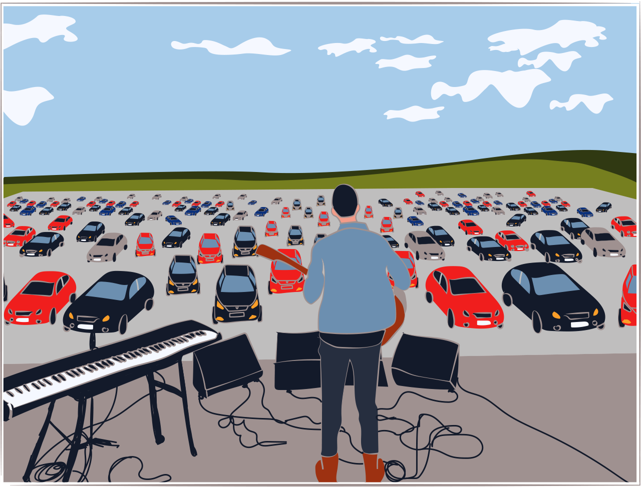 Illustration of a drive-in gig