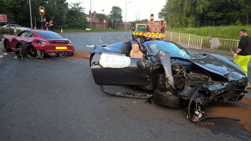 Ferrari And Porsche Wrecked In Sheffield Crash Bbc News